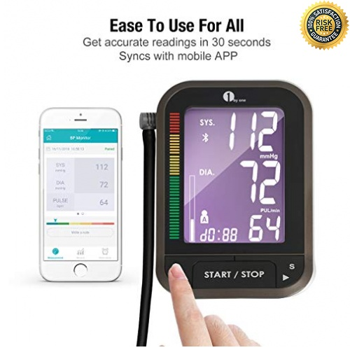 97781f5a550 1byone Tensiómetros de brazo eléctricos inalámbrica con App para Android e  IOS, Pantalla LCD , FDA y CE,almacena hasta 120 lecturas para 2  usuarios-negro