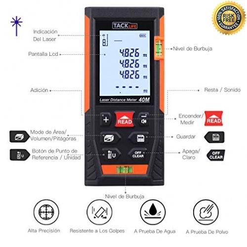ICOCO Medidor de distancia a prueba de polvo port/átil digital IP54 40 metros de /área para la vivienda; 0.05 a 40M Tel/émetro l/áser