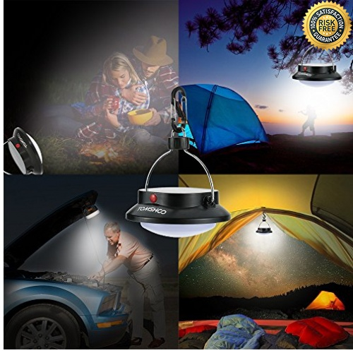 TOMSHOO L/ámpara Colgante Camping Port/átil Luces Solares Para Exterior Cargador Para Tel/éfono Recargable Con USB o Paneles Solares 3 Modo 200LM 12LED